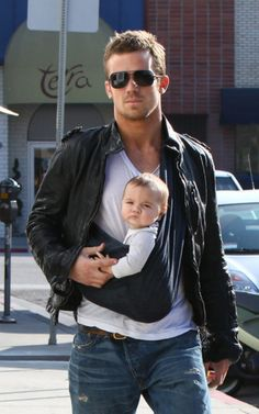 baby wearing, cam gigandet, a real man, future husband, baby daddy, baby faces, leather jackets, baby slings, men wear