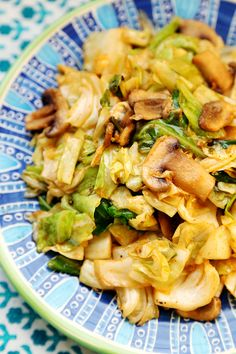Cabbage and Mushroom Stir Fry - Vegan