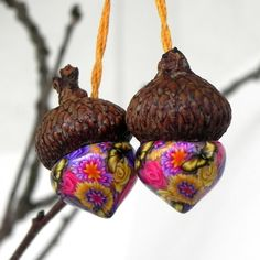 Yellow Pink Purple Floral Acorn Ornaments Enchanted by LavaGifts, $8.00