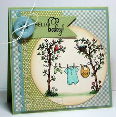 """Are you ready to see our last set being revealed today? """"Hello Baby"""". Tammy Hershberger created this sweet darling baby card. She used Flourishes brand new """"Hello Baby"""" stamp set. The stamp set is just too sweet for words and can be used for so many different projects. Be sure to check out her blog for more details."""