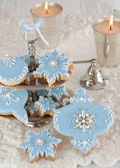 Blue Icing Christmas Cookies