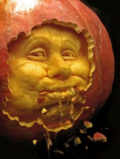 Ray Villafane and his team of professional sculptors meticulously carved terrifying characters out of pumpkins using spoons and scalpels.