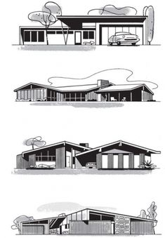 mid century modern architecture working drawing (1950s)