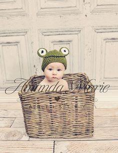 Baby Frog Hat crochet photo prop beanie by GoodKarmaCrochet, $22.00