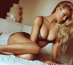 girl, sexi, blondes, hot, black lingerie, beauti, beauty, hair, maria anohina