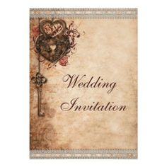 Vintage Hearts Lock and Key Wedding Personalized Invitations