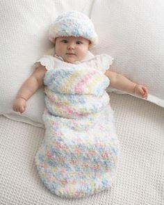 Bernat: Pattern Detail - Pipsqueak - Baby Cocoon and Hat (crochet)