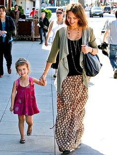 Jessica Alba does boho chic. With daughter Honor.