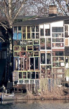 house made of reclaimed windows