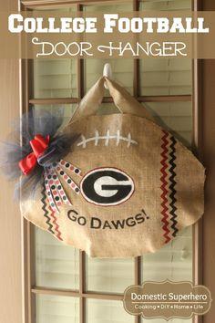 College Football Burlap Door Hanger