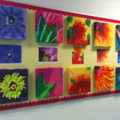 Grade Six - Flower magnification project. We used tissue paper on pizza boxes!