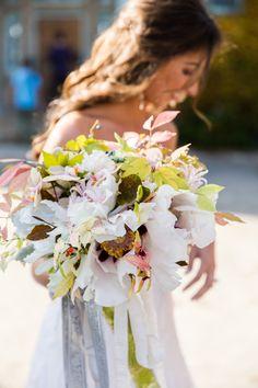 Elegant free-form #bouquet | See the wedding here:  http://www.StyleMePretty.com/massachusetts-weddings/new-marlborough/2013/12/31/elegant-berkshires-wedding-at-gedney-farm/ Roey Yohai Photography
