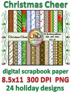 On sale for $3.75 for a limited time. There are 24 patterns total, in a variety of holiday colors and patters. Some have shiny, glitter accents. Great for TPT sellers or other commercial use. Also, great for personal scrabooking use, and classroom projects. This is the 8.5x11 inch set. I also have a 12x12 inch set available in my store here:  http://www.teacherspayteachers.com/Product/Christmas-Cheer-Digital-Scrapbook-Paper-TPT-sellers-commercial-use-981237
