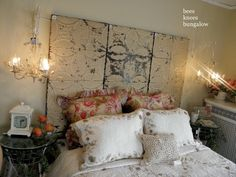 headboard, tin ceilings, romantic bedrooms, tin tiles, shabby chic, ceiling tiles, hous, old tins, old doors