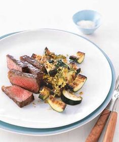 Steak With Golden Zucchini recipe from realsimple.com #myplate #protein #vegetables