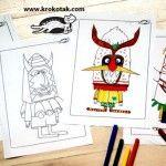 картинки за оцветяване – Кукери по чорапи:)