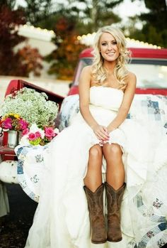 One day, I will rock this country wedding dress with cowboy boots style. One day....