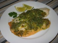 Salsa Verde Tilapia - can do this with fish or chicken...if using chicken maybe add a little pepper jack cheese