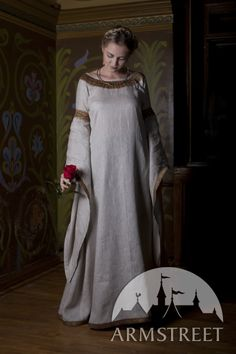 """Medieval Natural Linen Tunic Dress """"Anne of Kiev"""" - Armstreet"""