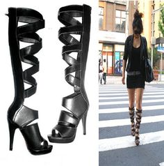 Knee Length Gladiator Sandals | ... shoes-women-genuine-leather-shoes-peep-toes-pumps-high-heels-gladiator