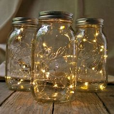 Create the appearance of fireflies in a jar with this unique light display. Simply feed the light strandthrough the mouth ofthe Mason Jar and tape the compact battery pack to the bottom of the lid and you suddenly have a beautifullight display suitable forweddings, events and home décor.Display them as centerpieces, pathway lighting, or hang them from shepherd hooks, branches, or ceilings.