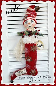 Primitive Snowman Pattern Stocking pdf OFG team. $8.00, via Etsy.