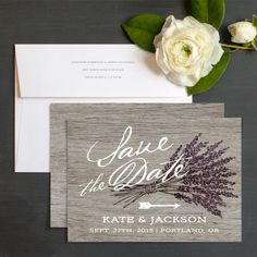 Lavender Barn Wood Save The Date Cards by Emily Crawford | Elli