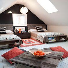 Shared bedroom with reclaimed pallet furniture pallet beds, teen bedrooms, attic bedrooms, boy bedrooms, boy rooms, pallet furniture, attic rooms, shared bedrooms, kids design