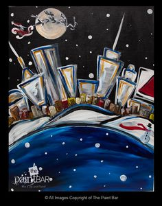 Funky Winter #Boston Skyline - Jackie Schon, The Paint Bar