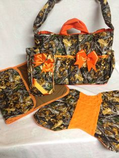 Large Camo diaper bag set with orange bow by NanasClosetCreations, $45.00