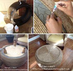 DIY ottoman - rope
