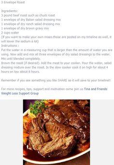 3 envelope roast (slow cooker)