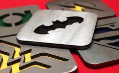 Justice League Coaster set of 5, Steel, Batman, Wonder Woman, Superman, Green Lantern, Flash via Etsy