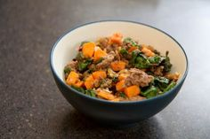 "healthy ""hamburger helper"" with sweet potatoes and leafy greens"