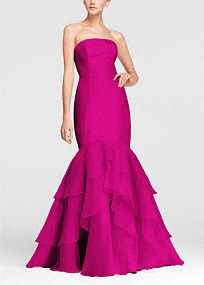Strapless Fit and Flare Organza Dress