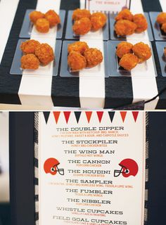 Football Party Menu & Appetizers on a referee stripe table