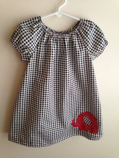 Black and White Alabama Houndstooth with Red Polka Dot Elephant Applique Peasant Dress 12 month 18 month 24 month 2T 3T 4T 5T