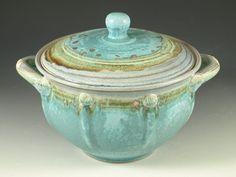 white stoneware casserole Hudaka Pottery.