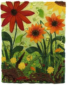 'summer's final glory' fabric collage with machine and hand embroidery by Kirsten Chursinoff