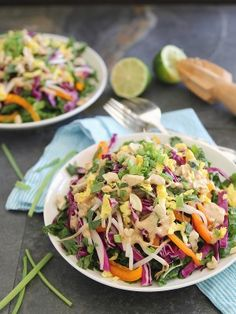 This Pad Thai salad recipe is similar to a popular pad Thai dish without the noodles. The dressing is creamy and completes this salad.