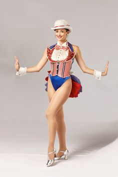 """The """"Red, White, & Blue Proof"""" costume is a patriotic look designed by Frank Spencer and was introduced by the Rockettes in 1981.  #rockette #NYC #costumes #dancers #glamorous #redwhiteandblue #red #white #blue #tophat #patriotic #bowtie"""
