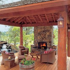 Outdoor Fireplace and covered deck