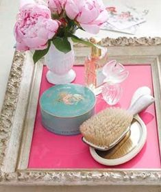 place a piece of colored paper inside picture frame for instant vanity tray! #vintage