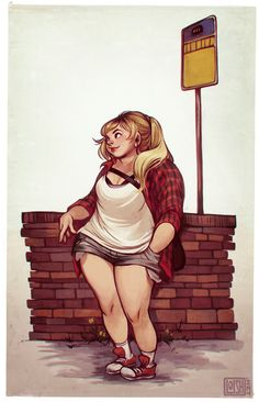 cute girl waiting at a bus stop, dragged through photoshop hell in an attempt to give it a 70's storybook illustration feel. ugh i wan...