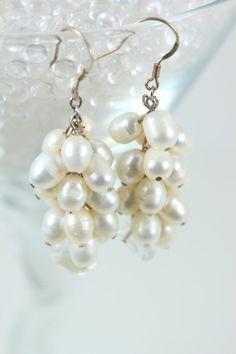 Earrings Bridal Chunky Cluster Pearl Dangle by TrinketsNWhatnots  www.trinketsnwhatnots.etsy.com