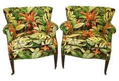 tropical print vintage style chairs