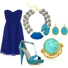 Turquoise & Royal Blue, created by naushinazim.polyvore.com