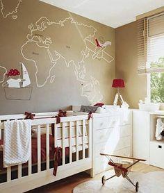 Map painted on nursery wall.  Themes: Explorer, Pirate, Aviator