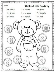 classroom, idea, color by number for kids, corduroy subtract, subtract freebi, color by number subtraction, kindergarten, teach, laughter