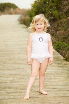 Precious monogrammed girls bathing suit by Crescent Moon Children.